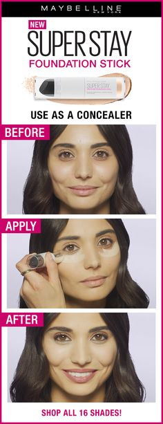 New Maybelline Super Stay Multi-Use Foundation Stick allows you to create a flawless look. Just look at the before and after photo! Simply apply all-over your face and use the sponge to buff and blend it out. Available in 16 shades at ULTA Beauty. Maybelline Concealer, Maybelline Superstay, Tips And Tricks, Makeup Tricks, Makeup Ideas, Makeup Tutorials, Makeup 101, Eyeshadow Tutorials, Makeup List