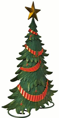 """Embossed Christmas Tree Statuary - 18"""" Tall - Vintage Look Metal Tree. Painted in lovely muted Christmas colors. Gives the look of old fashioned Christmas decoration. A great addition to your holiday decor."""