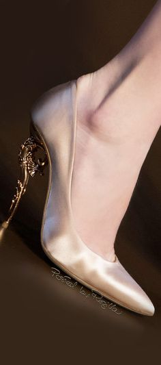 Ralph & Russo ~ Champagne Satin Pumps w Embellished Metal Heel FW 2015/16