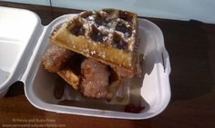 Fried chicken and waffles with gravy and maple syrup from @YolksBreakfast in Vancouver