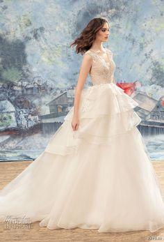 papilio 2017 bridal sleeveless v neck heavily embellished bodice layered skirt princess ball gown wedding dress covered lace back chapel train (peacock) mv -- Papilio 2017 Wedding Dresses