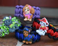 Paw Patrol Marshall,Chase,Skye  & Rocky Kids Paracord Survival Bracelet