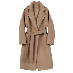 Robe Trench in Camel Indigo (1.520 RON) ❤ liked on Polyvore featuring outerwear, coats, brown trench coat, brown coat, camel trench coat, trench coats and asymmetrical coat