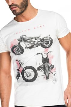T-shirt corte justo com decote redondo e estampado frontal | 115345 Cru | Salsa