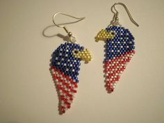 Patriotic Eagle Head  USA American Red White and Blue Beaded Stiched Earrings Stars and Stripes by JazminsJewels on Etsy