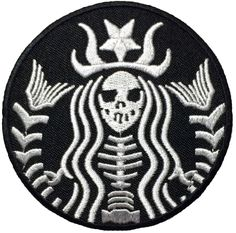 Dead Mermaid Zombie Halloween Skull Skeleton Sew Iron on Embroidered Patches - Black (1Pcs.) -- Check out this great item.