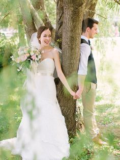 "cute ""first look,"" photo by When He Found Her http://ruffledblog.com/brooklands-farm-wedding #wedding #portraits"