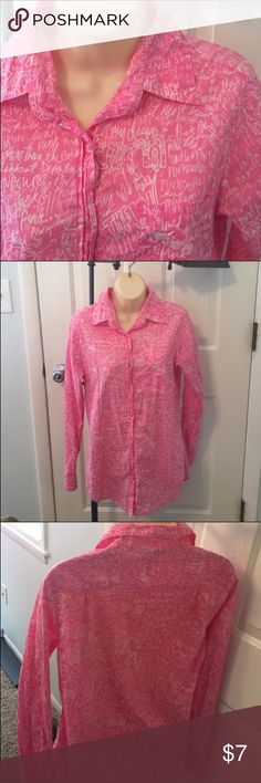 🔵XS Victoria's Secret PINK graffiti pajama top Pink!  Cute graffiti writing material on a button down pajama top. PINK Victoria's Secret Intimates & Sleepwear