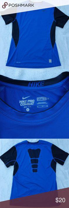 Mens Nike pro combat shirt Blue and black fitted nike pro combat Nike Shirts