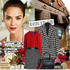Casual, yet classy work outfit. Red sweater and wool high waisted pencil skirt.