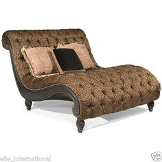 Chaise Lounge Chair W/ Panther Lion Print Tufted Oversized Large Silk Blend New