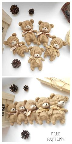 Crochet Tiny Teddy Bear Amigurumi Free Patterns – DIY Magazine – Famous Last Words Crochet Teddy, Crochet Bear, Crochet Gifts, Cute Crochet, Crochet For Kids, Crochet Animal Patterns, Crochet Patterns Amigurumi, Crochet Dolls, Magazine Crochet