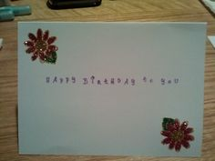 Happy Birthday Card, hand stamped and glittered.