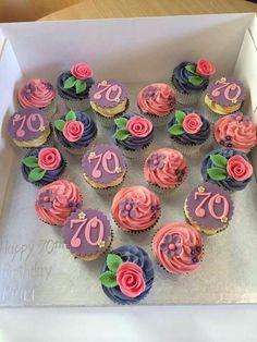 Trendy Birthday Cupcakes For Mom Mothers Cup Cakes 68 Ideas 70th Birthday Cake For Women, 70th Birthday Party Ideas For Mom, Birthday Cupcakes For Women, 80 Birthday Cake, 70th Birthday Parties, Birthday Celebration, Grandma Birthday Cakes, Creative Birthday Cakes, Birthday Treats