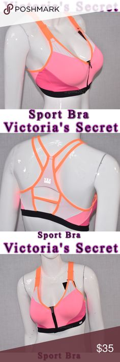 Victoria's Secret Incredible Sport bra 32DD Incredible by Victoria's Secret New with tag maximum support Breathable padding with wicking liner to keep you extra dry Flexible underwire for maximum comfort Fully adjustable straps Bonded, seamless technology that eliminates irritation  Supersoft elastic band for comfort & movement Locking zip-front with inside hook-&-eye closure Victoria's Secret Intimates & Sleepwear Bras