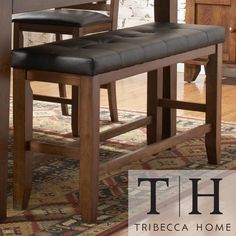 bar stool bench. Tribecca Home Kai Oak Brown Casual 24-inch Backless Counter Height Bench   Overstock.com Shopping - The Best Deals On Bar Stools Stool