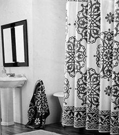 Tahari Fabric Shower Curtain Black Medallion Scroll Pattern Tahari Home  Http://www.