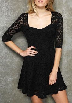 Black Hollow-out Long Sleeve Fitted Cotton Blend Dress