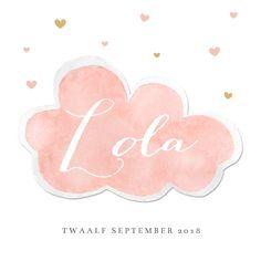 Lief geboortekaartje meisje met watercolor wolkje en gouden hartjes, heel erg schattig!