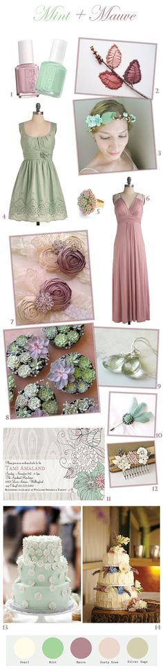 Mint and mauve are two tones that are meant for each other. These subtle shades of green and purple are soft and fresh, perfect for spring weddings, but could be used for any season depending on the exact shades of mint and mauve you choose