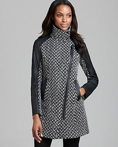 Marc New York Coat - Textured Faux Leather Sleeve | Bloomingdale's