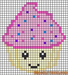 Free Kawaii Cupcake Cross Stitch Chart or Hama Perler Bead Pattern