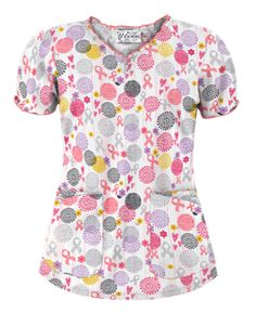 "UA Support Blooms White Print Scrub Top Style # UA538SUP  In recognition of Breast Cancer Awareness, UA will donate $1 from the sale of each ""Hope Love Courage Black"" and ""Support Blooms White"" print to Living Beyond Breast Cancer. Learn more about this organization at www.lbbc.org.  #uniformadvantage #uascrubs #adayinscrubs #scrubs #printscrubs #scrubtop #breastcancerawareness"
