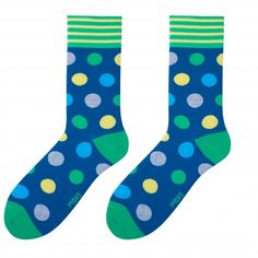 Pánske farebné  bavlnené ponožky v tmavo modrej farbe so zelenými guličkami Socks, Sock, Stockings, Ankle Socks, Hosiery