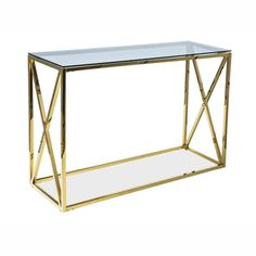 Elli Console Glam ♥ Hamptons ♥ Metal Console ♥ Glamour ♥ Glass Console in Gold Console Table, Fairmont Park, Makassar, Hazelwood Home, Types Of Wood, Modern Contemporary, Teak, Entryway Tables, Living Spaces
