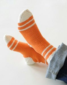 Knit Original Toe-Up Socks Knitting Socks, Hand Knitting, Knit Socks, Slipper Socks, Slippers, Orange Socks, Knitting Patterns, Crochet Patterns, Little Cotton Rabbits