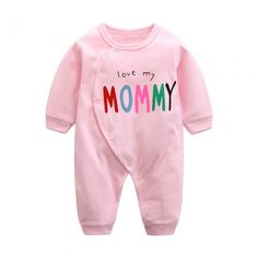 Cotton I Love My Mommy Infant Toddler Baby Girl Romper Long Sleeve 3-18Months Plain Pink