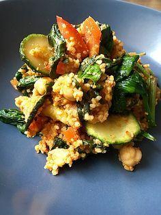 Couscous mit Zucchini, Kichererbsen und Blattspinat Mehr