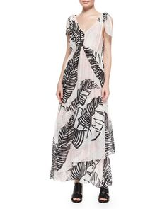 Printed Tie-Shoulder Maxi Dress by Thakoon Addition at Neiman Marcus.