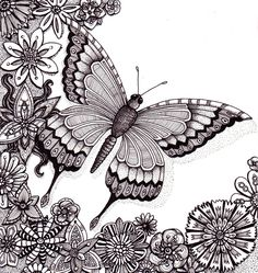 Nice butterfly coloring page for adults