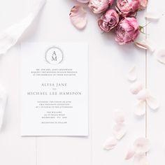 ALYSA Wedding Suite - DEPOSIT - Wedding Invitation, Monogram Wedding Invitation,  Simple Wedding Invitations, Wedding Invites by JakbernCreative on Etsy
