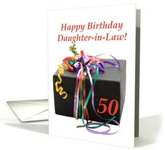 Daughter in law 50th, birthday gift with ribbons card