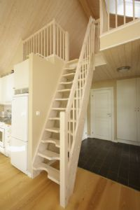 Space saving staircase in solid wood