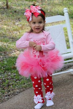 Baby Girl Valentine Tutu Outfit  Kisses by DarlingLittleBowShop, $84.95