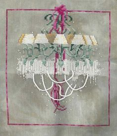 "This is a different kind of design from Mirabilia, but just as beautiful. It was in an issue of ""Just Cross Stitch"" magazine a few years back. I made it for my dad, who at the time was making side money fixing and creating chandeliers."