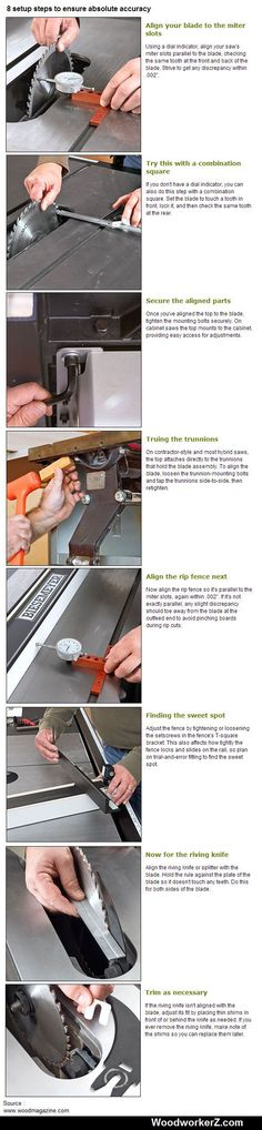 8 setup steps on the Table saw to ensure absolute accuracy