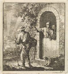Jan Luyken | Man in een deuropening gebaart een vermoeide reiziger om door te gaan, Jan Luyken, wed. Pieter Arentsz & Cornelis van der Sys (II), 1711 |
