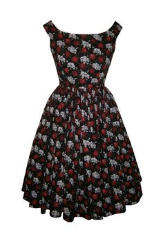 Full gathered 'Abigail' in 'chained to eternity' black skull and rose print cotton. 1950s vintage style dress.