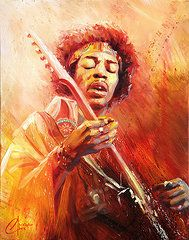 Music Paints Paintings - Jimi Hendrix  by Christopher Clark