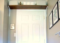 That foot or two above the door is an often-overlooked spot to eke out an extra bit of storage space... - mysocalledhome.com