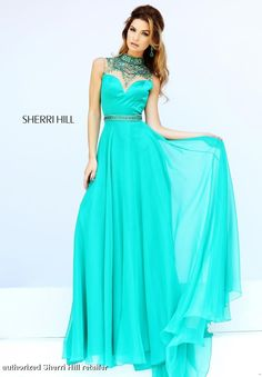 Sherri Hill Prom Dress 32144 - High neck beautiful flowing chiffon gown by the one and only Sherri Hill. QueensChoice.com
