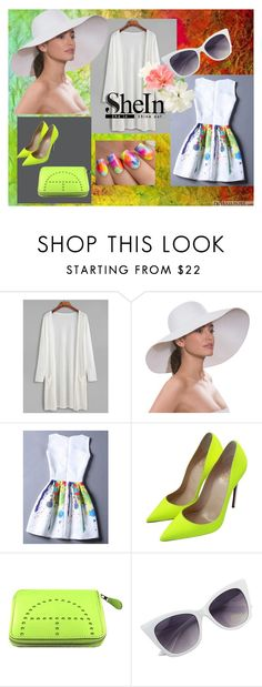 """SheIn - White long kimono"" by selmazbanic ❤ liked on Polyvore featuring Eric Javits, Christian Louboutin, Hermès and Cirque Colors"