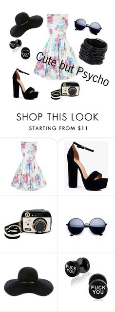 """""""cute but psycho"""" by kristin-k1234 on Polyvore featuring Boohoo, Betsey Johnson, Eugenia Kim and Saachi"""