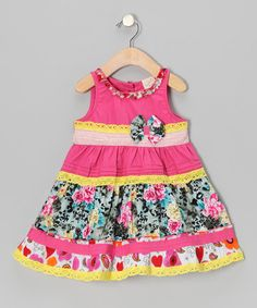 Take a look at this Pink Floral Stripe Bow Dress - Infant, Toddler & Girls by the Silly Sissy on #zulily today!