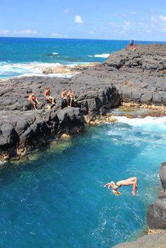 Queens Bath!  I have been to Kauai but never here.  I WANT TO GO!  Kaua'i, HA http://www.deepbluediving.org/scuba-dive-computer/