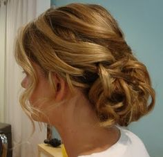 Romantic, soft, curly updos...Let's see your photos! :  wedding curly hair fine pictures romantic soft updo Hair Back